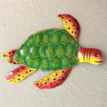 Metal Green & Orange Sea Turtle Wall Art