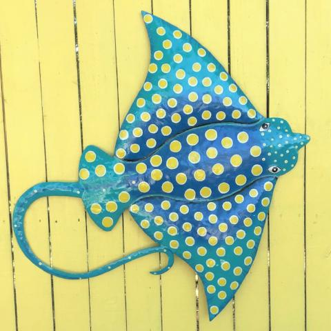 36in Metal Teal Spotted Eagle Ray Wall Art
