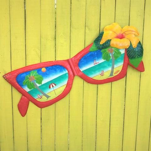 44in Metal Fuchsia Sunglasses with Flower Wall Art by Caribbean Rays