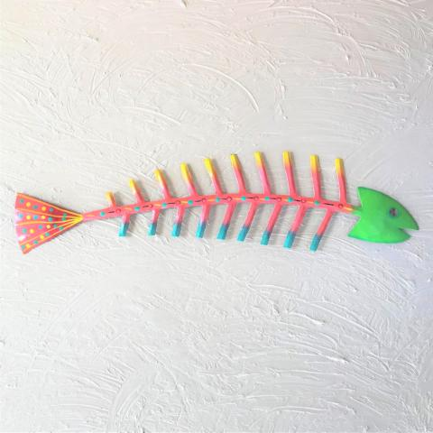 44in Green Head Bare Bones Metal Fish Wall Art by Caribbean Rays