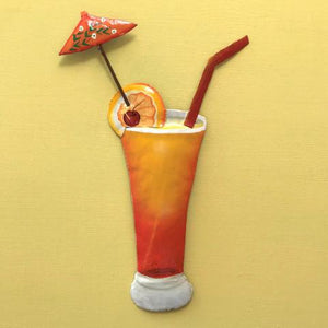 44in Tequila Sunrise Tropical Drink Metal Wall Accent by Caribbean Rays
