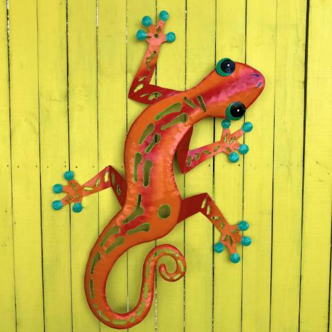 Orange Sculpted Metal Gecko Wall Decor – Caribbean Rays