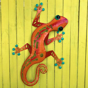 44in Orange Sculpted Metal Gecko Wall Decor by Caribbean Rays