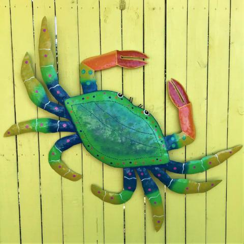 45in XL Metal Green Crab Wall Art by Caribbean Rays