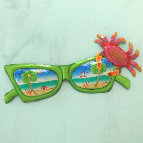 44in Metal Green Sunglasses with Crab Wall Art by Caribbean Rays