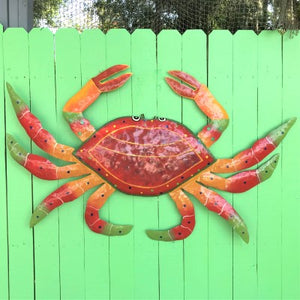 45in XL Metal Red Crab Wall Art by Caribbean Rays