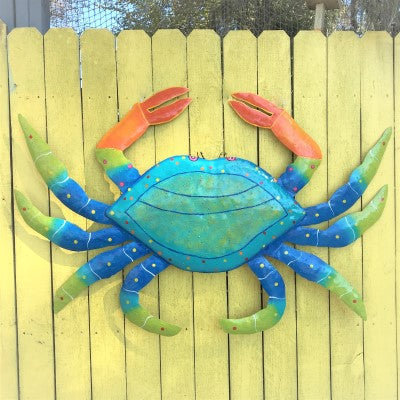 45in XL Metal Teal Crab Wall Art by Caribbean Rays