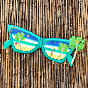 Teal Metal Sunglasses with Palm Tree Wall Art