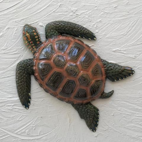 8in Resin Dark Brown Sea Turtle Wall Decor by Caribbean Rays