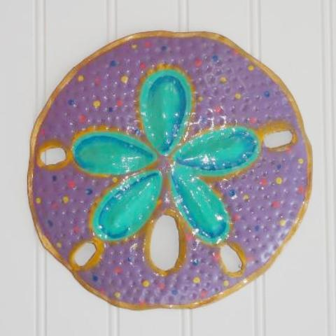 Metal Purple Sand Dollar Wall Decor by Caribbean Rays