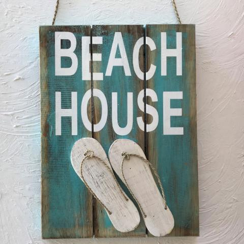 16in Beach House Teal Wood Sign by Caribbean Rays