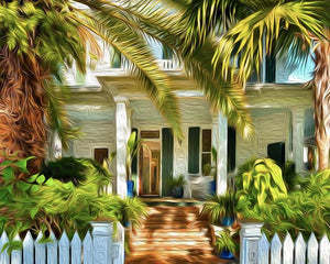 20x16 Big Palm Canvas Giclee Print Wall Art by Caribbean Rays