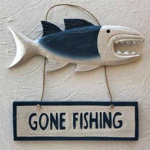 13in Blue Gone Fishing Wood Sign by Caribbean Rays