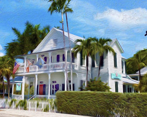 20x16 Conch House Canvas Giclee Print Wall Art by Caribbean Rays