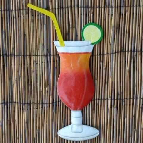 12in Hurricane Tropical Drink Metal Wall Accent