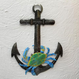 17in Metal Charcoal Anchor with Crab Wall Art