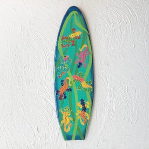 18in Metal Gecko Surfboard Wall Decor by Caribbean Rays