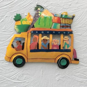 8in Yellow Metal Island Bus Wall Decor by Caribbean Rays