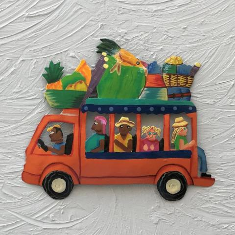8in orange Metal Island Bus Wall Decor by Caribbean Rays