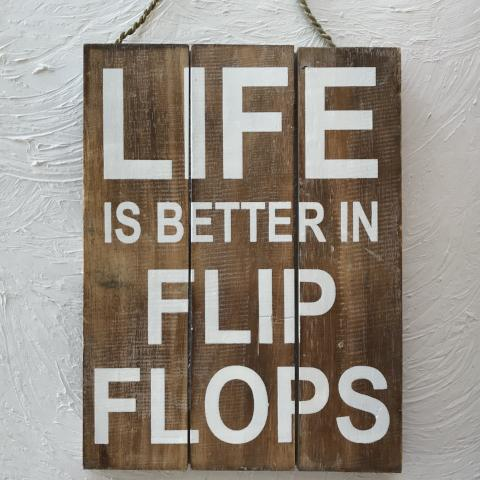 16in Life is Better in Flip Flops Brown Wood Sign by Caribbean Rays