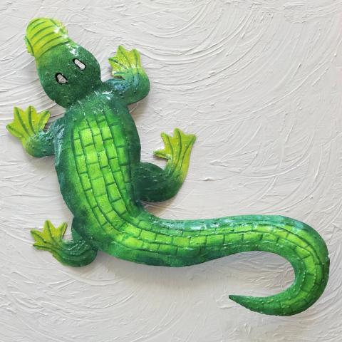 Green Metal Alligator Wall Decor by Caribbean Rays