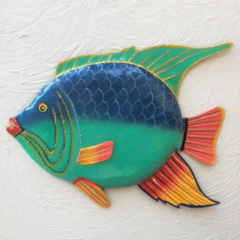 Metal Blue Teal Angelfish Wall Art by Caribbean Rays