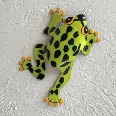 Metal Black Spotted Green Dancing Frog Wall Decor by Caribbean Rays