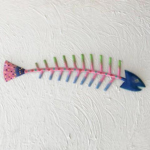 Blue Head Metal Fish Bones Wall Accent by Caribbean Rays