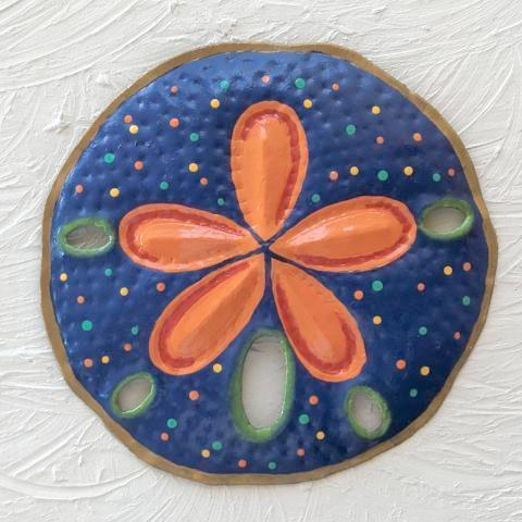 Metal Blue Sand Dollar Wall Decor by Caribbean Rays