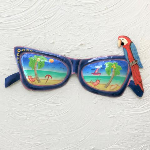 14in Blue Metal Sunglasses with Parrot Wall Art