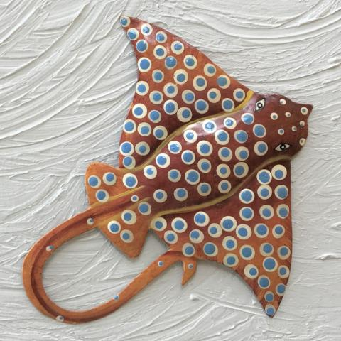 Brown Metal Spotted Eagle Ray Wall Decor by Caribbean Rays