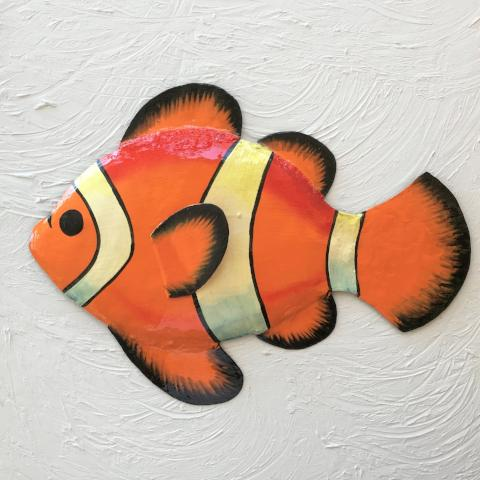 Metal Orange Clown Fish Wall Decor by Caribbean Rays