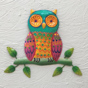 Colorful Metal Owl Wall Decor by Caribbean Rays