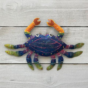 Metal Dark Blue Crab Wall Art by Caribbean Rays