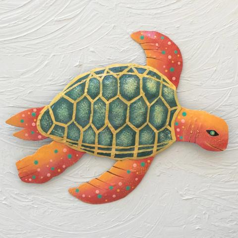 Metal Dark Green & Orange Sea Turtle Wall Art