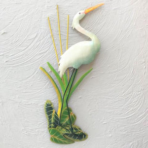 Metal White Egret Wall Decor