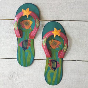 2pc Fish Flip Flop Teal and Pink Wall Decor by Caribbean Rays