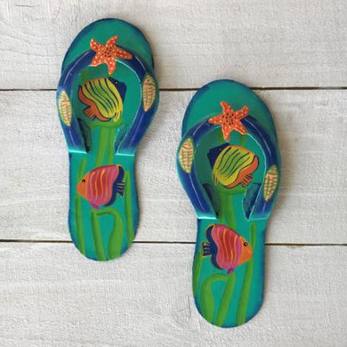 2pc Fish Flip Flop Teal and Blue Metal Wall Decor by Caribbean Rays