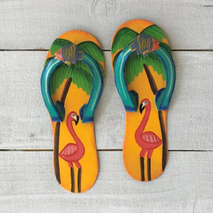 2pc Yellow & Aqua Flamingo Metal Flip Flop by Caribbean Rays