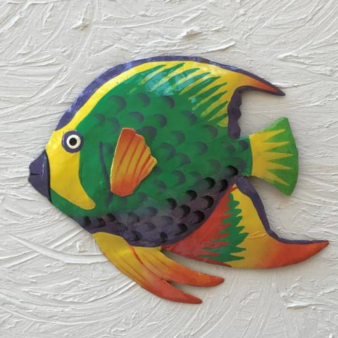 French Angelfish Metal Wall Art by Caribbean Rays