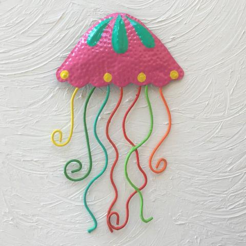 Metal Fuchsia Jellyfish Wall Art by Caribbean Rays