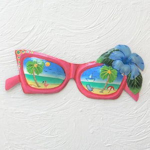 14in Coral Metal Sunglasses with Blue Hibiscus Wall Accent by Caribbean Rays