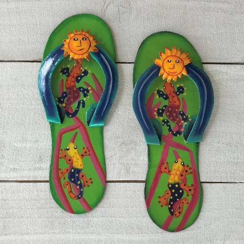2pc Gecko Flip Flop Green and Blue Metal Wall Decor by Caribbean Rays