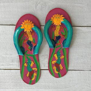 2pc Gecko Flip Flop Pink and Teal Metal Wall Decor by Caribbean Rays