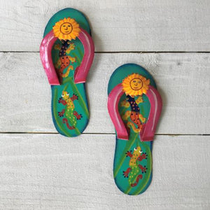 2pc Gecko Flip Flop Teal and Pink Wall Decor by Caribbean Rays