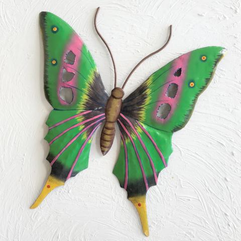 Metal Green & Purple Butterfly Wall Decor by Caribbean Rays