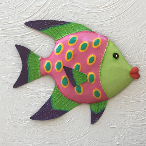 Green Face Metal Funky Angel Fish Wall Art by Caribbean Rays
