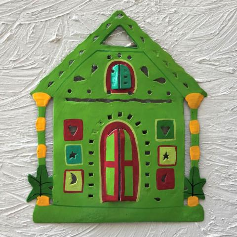 Metal Green Ginger Bread House Wall Art by Caribbean Rays