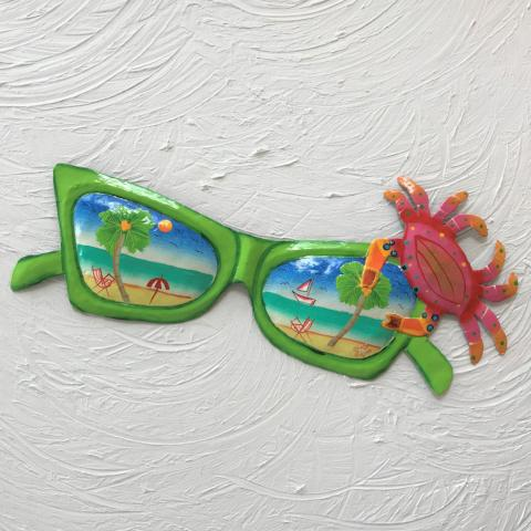 15in Green Metal Sunglasses with Crab Wall Art