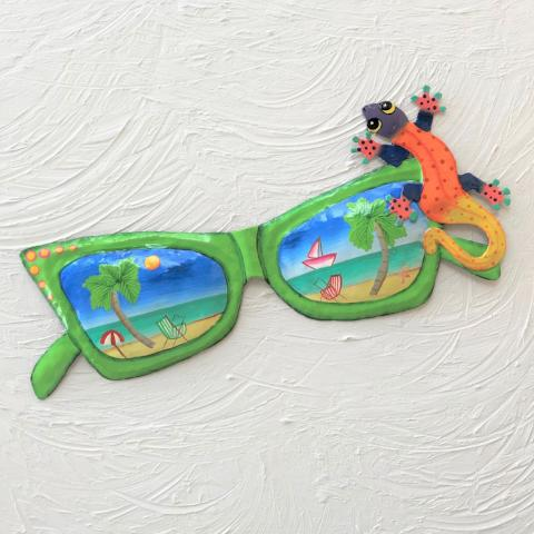 15in Metal Green Sunglasses with Gecko Wall Accent by Caribbean Rays